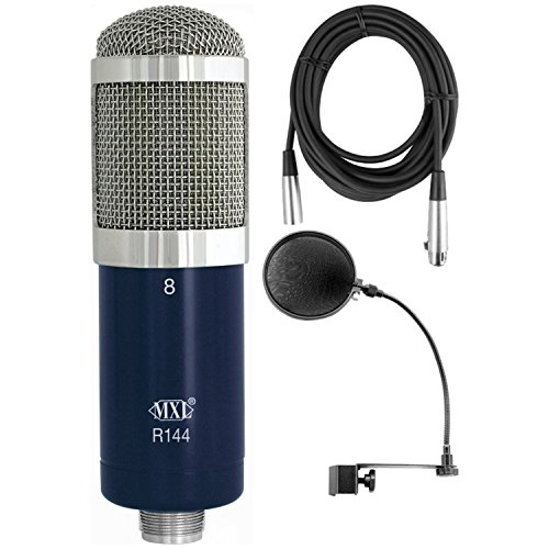 MXL R144 Studio Ribbon Microphone + Pop Filter + XLR Cable Bundle by MXL