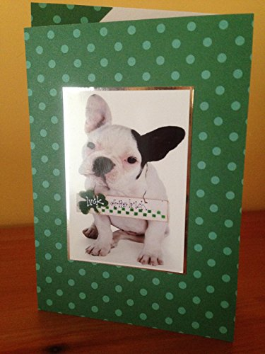 Handmade french bull dog Happy St Patrick's Day greetings card Congratulations Celebrations cute green shamrock ireland heat card A6/C6 size
