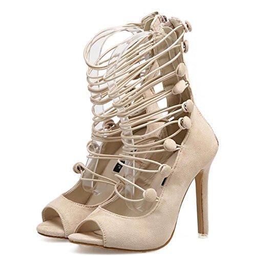 Tacones altos de las mujeres Sandalias de tacón alto de la manera del verano de la primavera Zapatos del vendaje Zapatos de la boca de pescado Negro, Cremoso-blanco GAOLIXIA Creamy-white