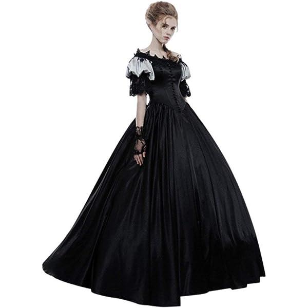 Mujer Vestidos Largos Gótico Medieval Vintage Vestidos de Princesa ...