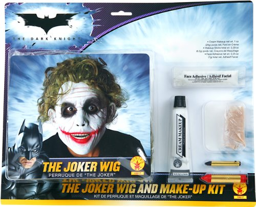 Batman Deluxe Joker Wig And Make Up Kit, Black, One Size - Makeup Only Halloween Costumes