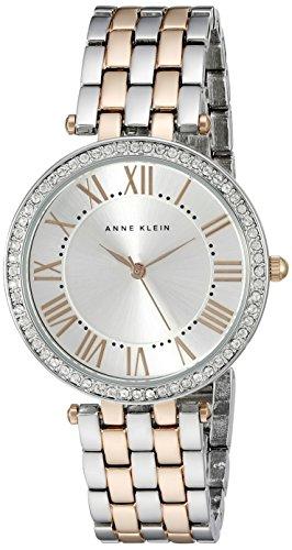 Anne Klein Women's AK/2231SVRT Swarovski Crystal-Accented Two-Tone Bracelet Watch - Anne Klein Roman Numeral Bracelet