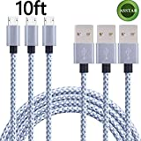 Asstar Android Charger Cable, 3Pack 10FT Extra Long Nylon Braided Micro USB High Speed Charging Cable for Samsung Galaxy S7 / S6 / S5 /Edge, Note 5 / 4 / 3,HTC,LG,Nexus (3pcs 10ft)