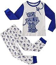 Jurebecia Girls Boys Pajamas 2 Pcs Cotton Cartoon Sleepwear Clothes Set Long Sleeve Tops+Elastic Waistband Pan