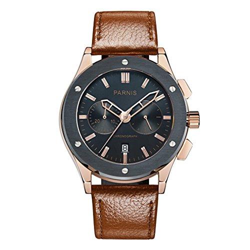 Parnis Pilot V Seriers Luminous Mens Leather Watchband Military Chronograph Quartz Watch Wristwatch - Gold Case Black Dial