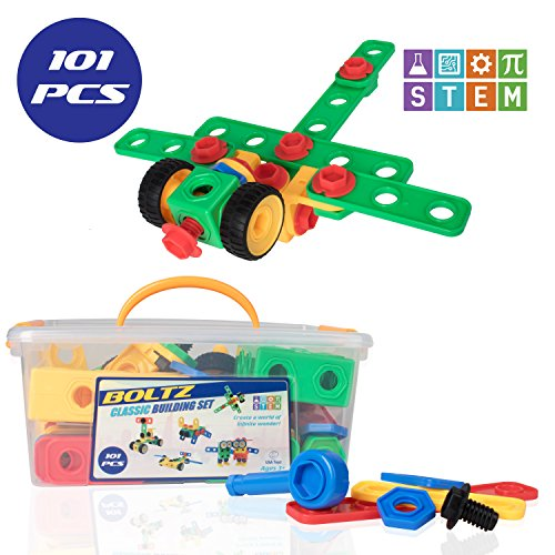 "STEM Toys Engineering Building Blocks - ""BOLTZ"" 101 Piece Building Toys for Boys and Girls with Bolts and Ratchet for STEM Construction"
