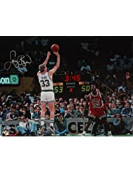 Larry Bird Autographed Celtics 16x20 Shooting vs. Jordan Photo- Beckett Auth Silver