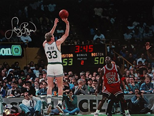 Larry Bird Autographed Celtics 16x20 Shooting vs. Jordan Photo- Beckett Auth ()