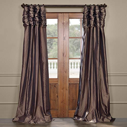- Half Price Drapes PTCH-27-96-RU Ruched Faux Silk Taffeta Curtain, Mushroom