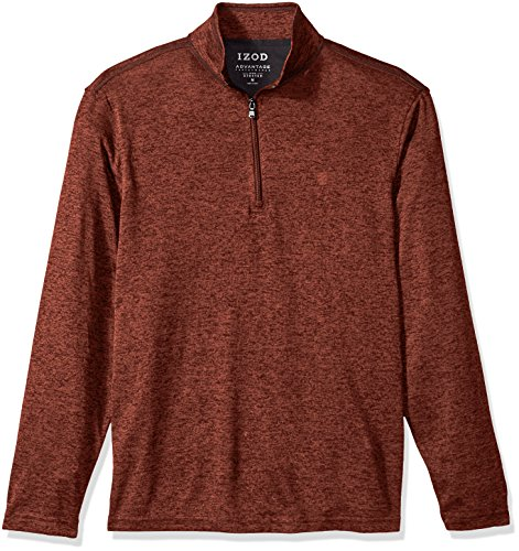 Zip Neck Fleece Shirt - IZOD Men's Advantage Performance Solid 1/4 Zip Fleece, Cinnibar, Medium