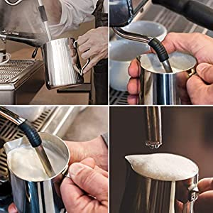 Milk Frothing Pitcher Jug - Stainless Steel Coffee Tools Cup - Suitable for Espresso, Latte Art and Frothing Milk