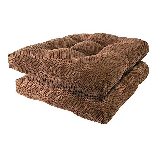 Arlee - Delano Chair Pad Seat Cushion, Memory Foam, Non-Skid Backing, Durable Fabric, Superior Comfort and Softness, Reduces Pressure and Contours to Body, Washable, 16 x 16 Inches (Brown, Set of 2) (Chair Cushion Contour)