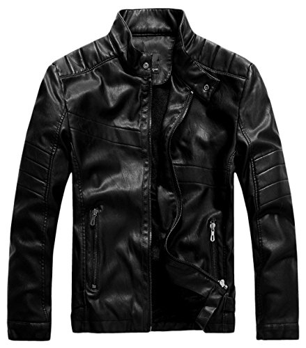 Leather Fashion Jacket (chouyatou Men's Vintage Stand Collar Pu Leather Jacket (Small, WZQM111-Black))