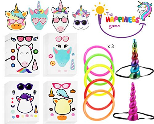 Unicorn Ring Toss Game Speed and Agility Training Games+24 Children Make Unicorn Stickers - Unicorn Theme Birthday Party 4 Styles Unicorn Children Cartoon Cute DIY Party Sticker ,Party Favors Intelligence Craft - Create & Design Different Shapes Make for Children.]()