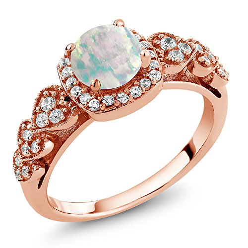Gem Stone King Round Cut 0.62 Ctw White Simulated Opal 18K Rose Gold Plated Sterling Silver Engagement Anniversary Ring (Size 9)