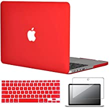 """Easygoby 3in1 Frosted Matte Silky-Smooth Soft-Touch Hard Shell Case Cover for Apple 13.3""""/ 13-inch MacBook Pro with Retina Display Model A1425 /A1502 (NO CD-ROM Drive) + Keyboard Cover + Screen Protector - Red"""
