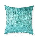 VROSELV Custom Cotton Linen Pillowcase Turquoise Decor Small Dot Mosaic Tiles Shape Simple Classical Creative Artful Fun Design Bedroom Living Room Dorm Decor 12''x12''
