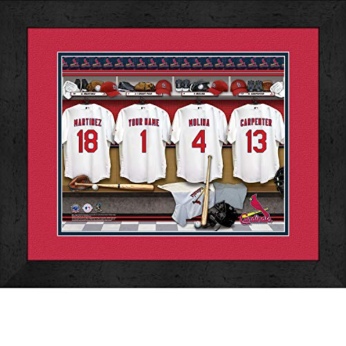 St. Louis Cardinals Personalized MLB Baseball Locker Room Jersey Framed Print 14x18 Inches