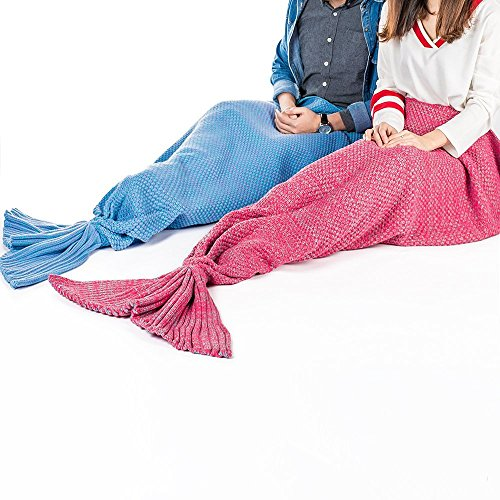 [Prosshop Mermaid Tail Blanket Fashion Cozy Handmade Super Soft Crochet Fabric Lovely Seatail Sleeping Throws Suit for Adult and Teens Resting or reading Apply on All Seasons (31.5