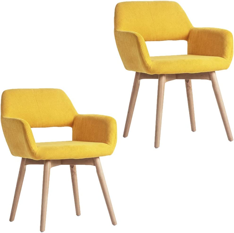 WisHom Small Modern Living Dining Room Accent Arm Chairs Fabric Mid-Century  Upholstered Side Seat Club Guest with Solid Wood Legs (5, Yellow)
