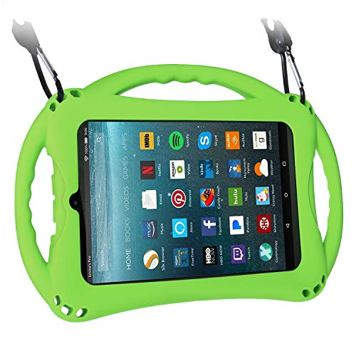 TopEsct Kid-Proof Case for Amazon Fire 7 Tablet (Compatible with Both 7th and 9th Generation Tablets, 2017&2019 Releases) Handle Stand Cover Case for Kids (Green) (Lime Kindle Fire Case)
