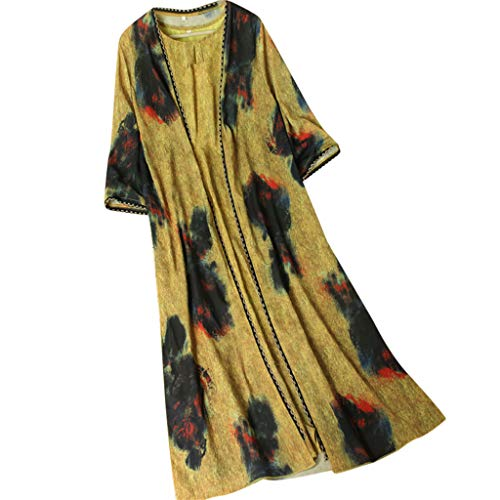 Ximandi Women's Vintage Boho Chiffon Floral Print 2-Pieces in 1 Short Sleeve Long Dress Yellow ()