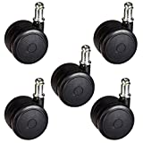 2'' Soft Wheel Office Chair Casters - Non-Marking Rubber - Hardwood Floor Safe - Set of 5