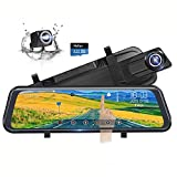 Backup Camera 10' Full Touch Screen Mirror Dash Cam, Poaeaon 170° 1296P Front and 150° 1080P Rear View Camera Dual Lens with Night Vision & Parking Monitor (Free 32GB SD Card)
