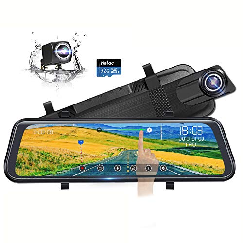 "Backup Camera 10"" Full Touch Screen Mirror Dash Cam, Poaeaon 170° 1296P Front and 150° 1080P Rear View Camera Dual Lens with Night Vision & Parking Monitor (Free 32GB SD Card)"