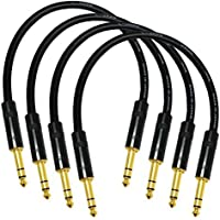 4 Units - 1 Foot - Canare L-4E6S Star Quad, Patch Cable terminated with Neutrik-Rean NYS ¼ Inch (6.35mm) Gold TRS Stereo Phone Plugs
