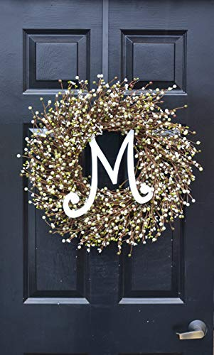 Elegant Holidays Handmade Cream, Green Berry Wreath with Monogram, Front Door Welcome Guests Outdoor Indoor Home Wall Accent Décor Great Spring, Easter, St Patricks Day, Christmas, All Seasons, 18-24