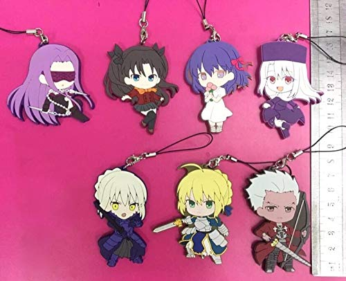 Deep Huble 7pcs/lot Fate Stay Night/Random Send Original Japanese Anime Figure Rubber Silicone Mobile Phone Charms/Key Chain/Strap G890 (Fate Stay Night Phone Charm)