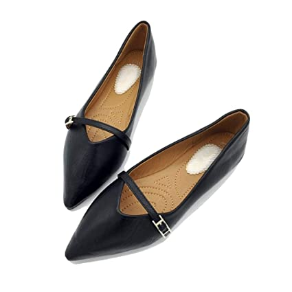 c04e821537e64 Amazon.com: York Zhu Woman Flats Shoes,Autumn Leather Flat Ballet ...