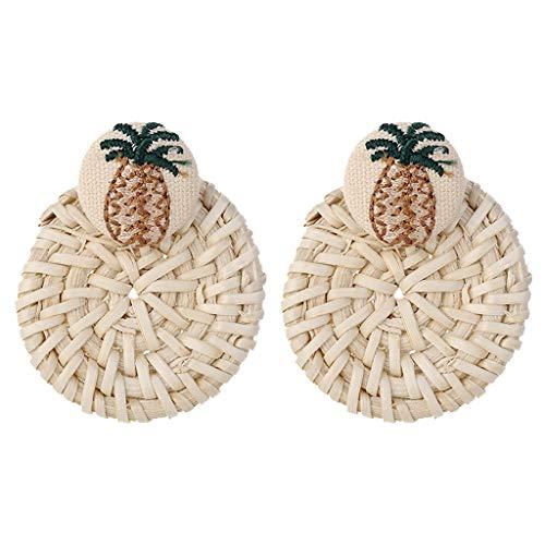 QIUUE HOT ! Bohemian Retro Style Handmade Pearl Rattan Geometric Gound Ladies jewelry Crystal Stainless Steel Stud Earrings Birthday Dating Gift ()
