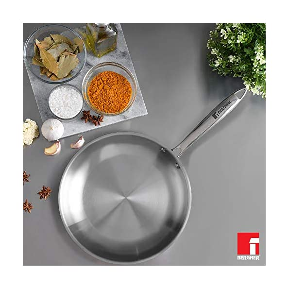 Bergner-Argent-5CX-5-Ply-Stainless-Steel-Fry-Pan-with-Riveted-Cast-Handle-Induction-Base-24-cm-Silver