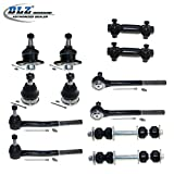 DLZ 12 Pcs Front Suspension Kit-2 Lower 2 Upper Ball Joint, 2 Inner 2 Outer Tie Rod End+2 Adjusting Sleeve, 2 Sway Bar for 1977-1996 Chevrolet Caprice/Chevrolet Impala, 1977-1984 Cadillac Deville