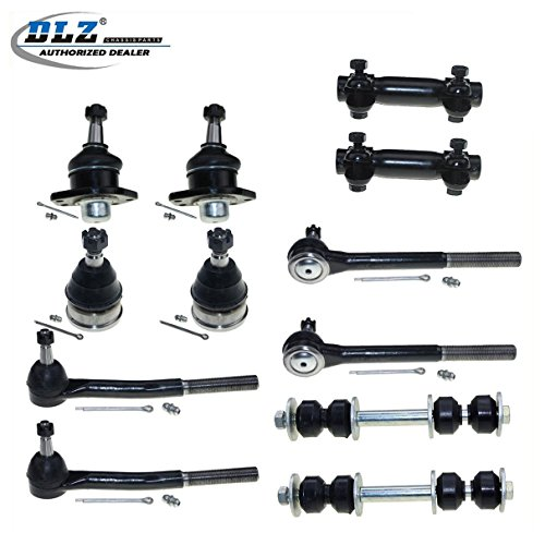 DLZ 12 Front Suspension Kit-2 Lower 2 Upper Ball Joint 2 Inner 2 Outer Tie Rod End 2 Adjusting Sleeve 2 Sway Bar Link Compatible with Chevrolet Caprice/Impala 1977-1996 ()