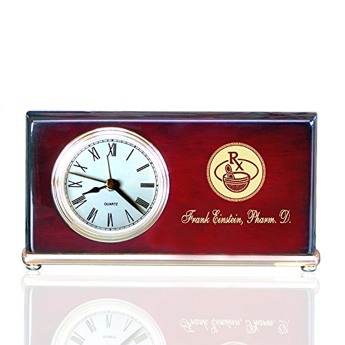 Personalized Piano Finished Wood Wedge Alarm Clocks for Pharmacists