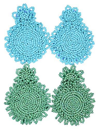 2 Pairs Statement Dangle Earrings for Women - Bohemian Beaded Round Drop Earrings Long Chandelier Earrings Idea Gift Blue Green