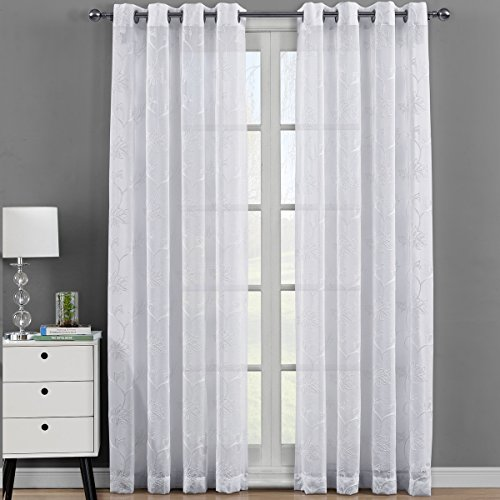 Royal Bedding Andora White Sheer Panels, Top Grommet Embroidered Sheer Curtain Panels, Set of 2, 54Wx108L inches Each