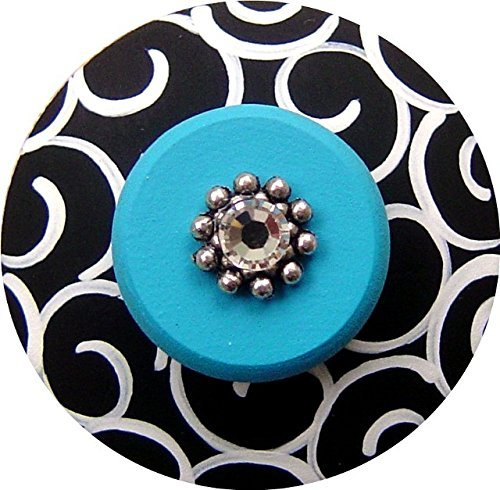 (Hand painted Jeweled Black White & Turquoise Swirls Drawer Knob)
