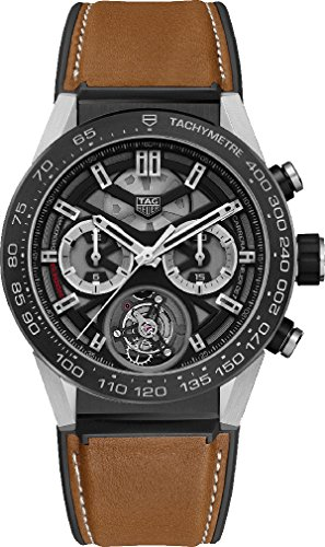 TAG-Heuer-Carrera-Titanium-on-Brown-Calf-Skin-Rubber-Leather-Strap-CAR5A8YFT6072