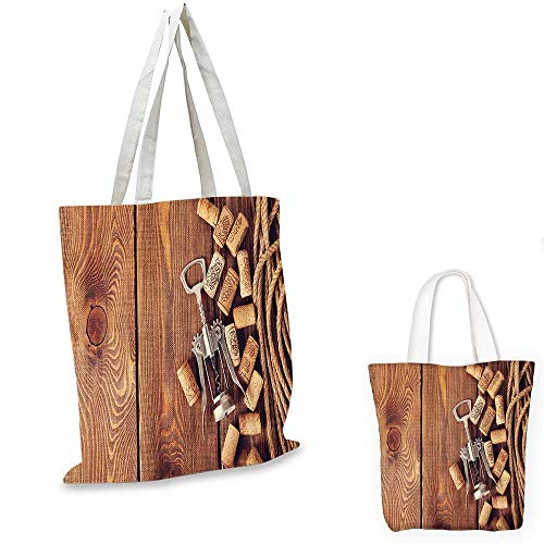 Winery Decor thin shopping bag Wine Corks Over Rustic Wooden Ground Natural Organic Liquor Elements Vintage Harvest Top View canvas tote bagBrown. 15