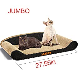 LAMBAW Jumbo Cat Scratcher Couch 27.56in Big Big Superior Eco-friendly Recycled Corrugated Cardboard Scratching Pads Bed Lounge Post - Protect Furniture Keep Cat Claws Healthy - Black