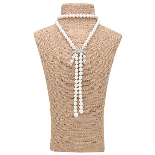 Fresh Off The Boat Costume (Romantic Time Women White Pearl Strand Silver Bow Long Pendant Necklace)