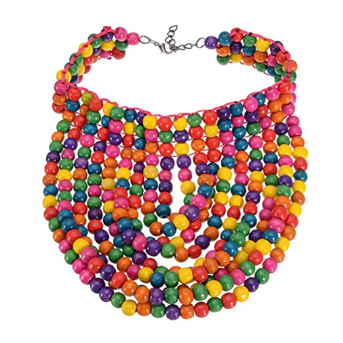 Mozhuo Fashion Multicolored Wooded Beaded Statement Necklace Layered Strand Chain Cluster Chunky Collar Choker Pendant Bib Necklace for Women Novelty Jewelry