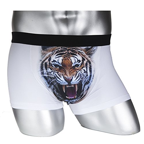 SAKUYV Men's 3D Animal Print Stretch Underwear Bulge Pouch Boxers Briefs Underpants (US XL(Asia XXL), White Tiger)