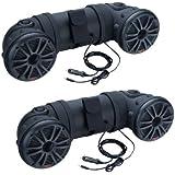 2) BOSS ATV20 6.5 450W 2-Way ATV/Marine Boat Dual Speaker System Tubbies Black