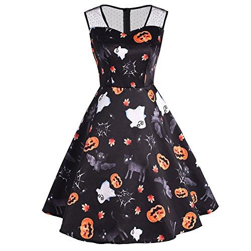iShine Women's Vintage Lace A Line Sleeveless Halloween Pumpkin Print Swing Skater Dress