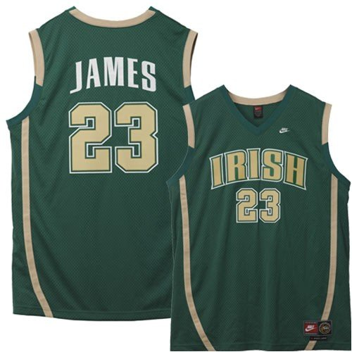 Fighting Irish Green Jersey - Nike St. Vincent - St. Mary Fighting Irish #23 LeBron James Green High School TAG Throwback Twilled Jersey